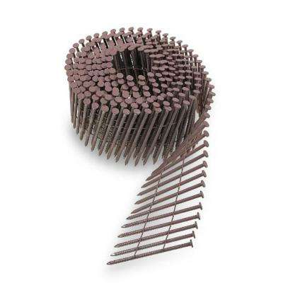 6d 2 in. 15 Wire Coil, Painted Full Round Head, Ring-Shank Nail in Redwood (3,600-Pack)