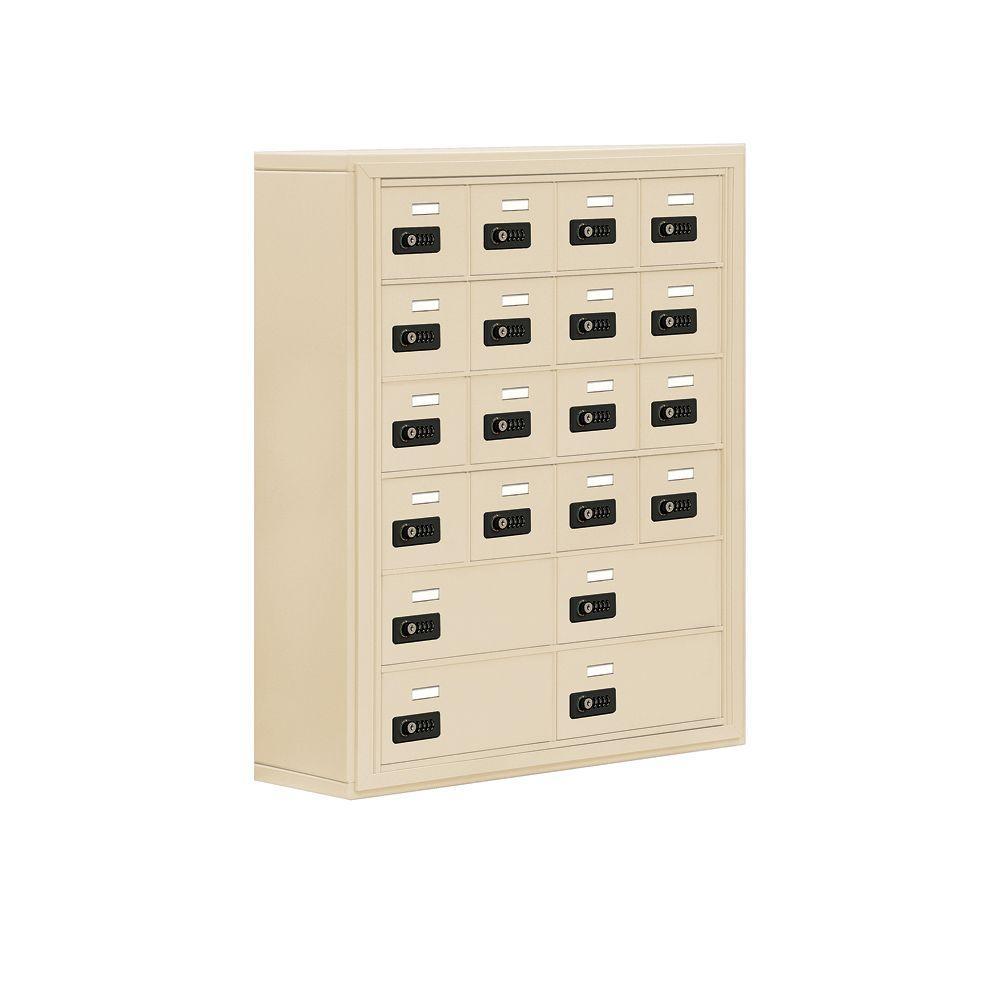 Salsbury Industries 19000 Series 30.5 in. W x 36.5 in. H x 9.25 in. D 16 A/4 B Doors S-Mount Resettable Locks Cell Phone Locker in Sandstone