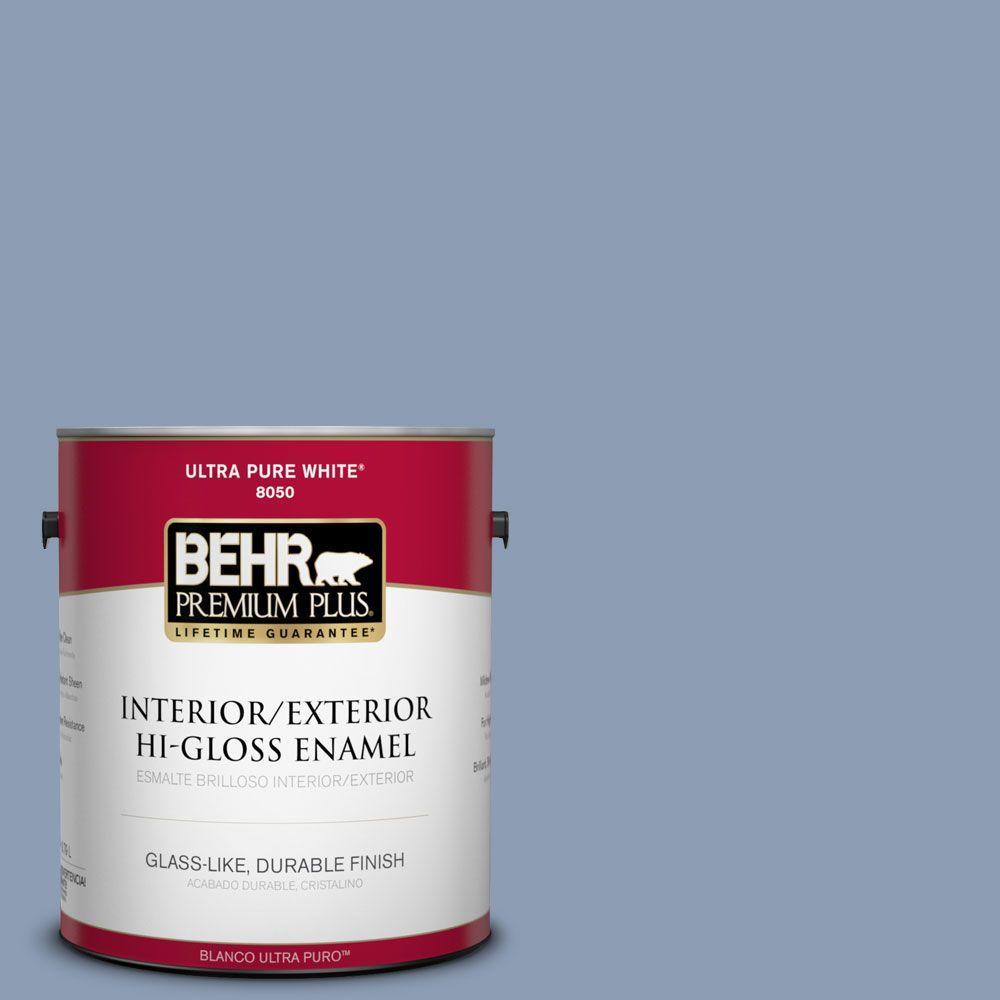 BEHR Premium Plus 1-gal. #PMD-72 Periwinkle Dusk Hi-Gloss Enamel Interior/Exterior Paint
