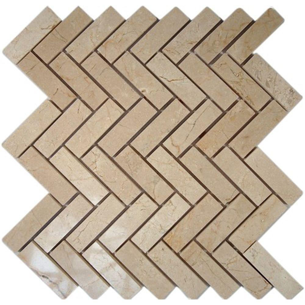 Ivy Hill Tile Crema Marfil Herringbone 12 in. x 12 in. x 8 mm Marble Floor and Wall Tile
