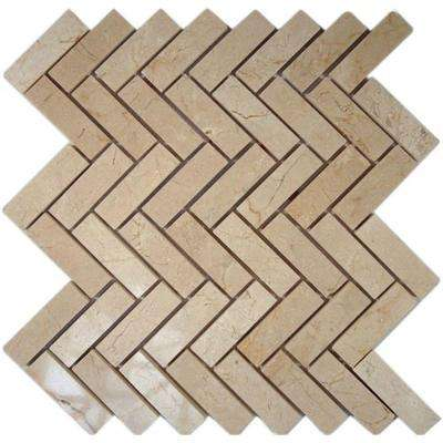 Crema Marfil Herringbone 12 in. x 12 in. x 8 mm Marble Floor and Wall Tile