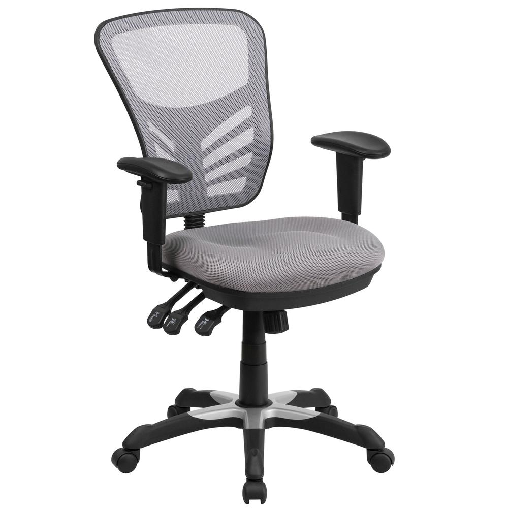 office chair controls. Mid-Back Gray Mesh Swivel Task Chair With Triple Paddle Control Office Controls