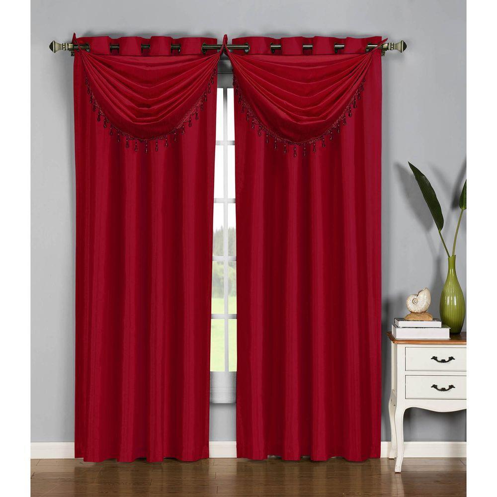 Burgundy Kitchen Curtains: Window Elements Semi-Opaque Jane Faux Silk 54 In. W X 95