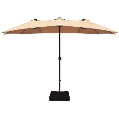 15 ft. Steel Double-Sided Solar LED Market Patio Umbrella in Beige with Crank Base