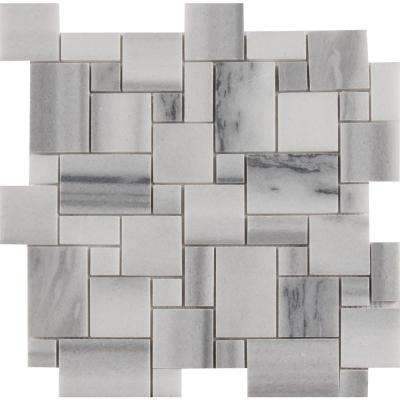 Bergamo Magic Pattern 11.69 in. x 11.69 in. x 10mm Polished Marble Mesh-Mounted Mosaic Tile (10 sq. ft. / case)