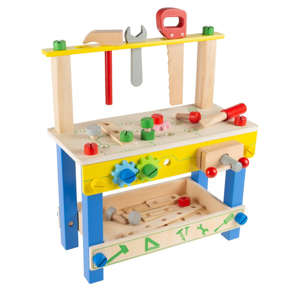 Hey! Play! Pretend Play Wooden Workbench and Tool Playset with Accessories