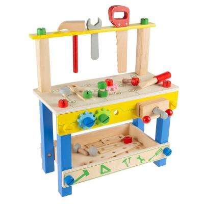 Pretend Play Wooden Workbench and Tool Playset with Accessories