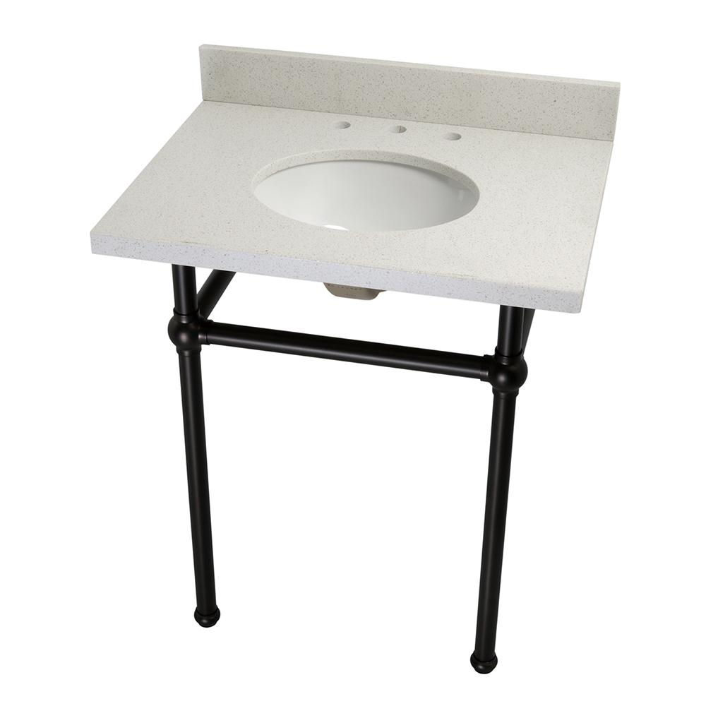 Kingston Brass Washstand 30 in. Console Table in White Quartz with Metal Legs in Oil Rubbed Bronze