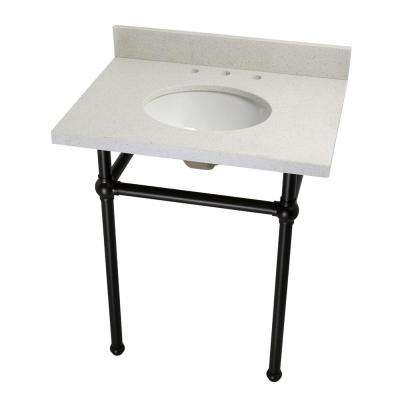 Washstand 30 in. Console Table in White Quartz with Metal Legs in Oil Rubbed Bronze