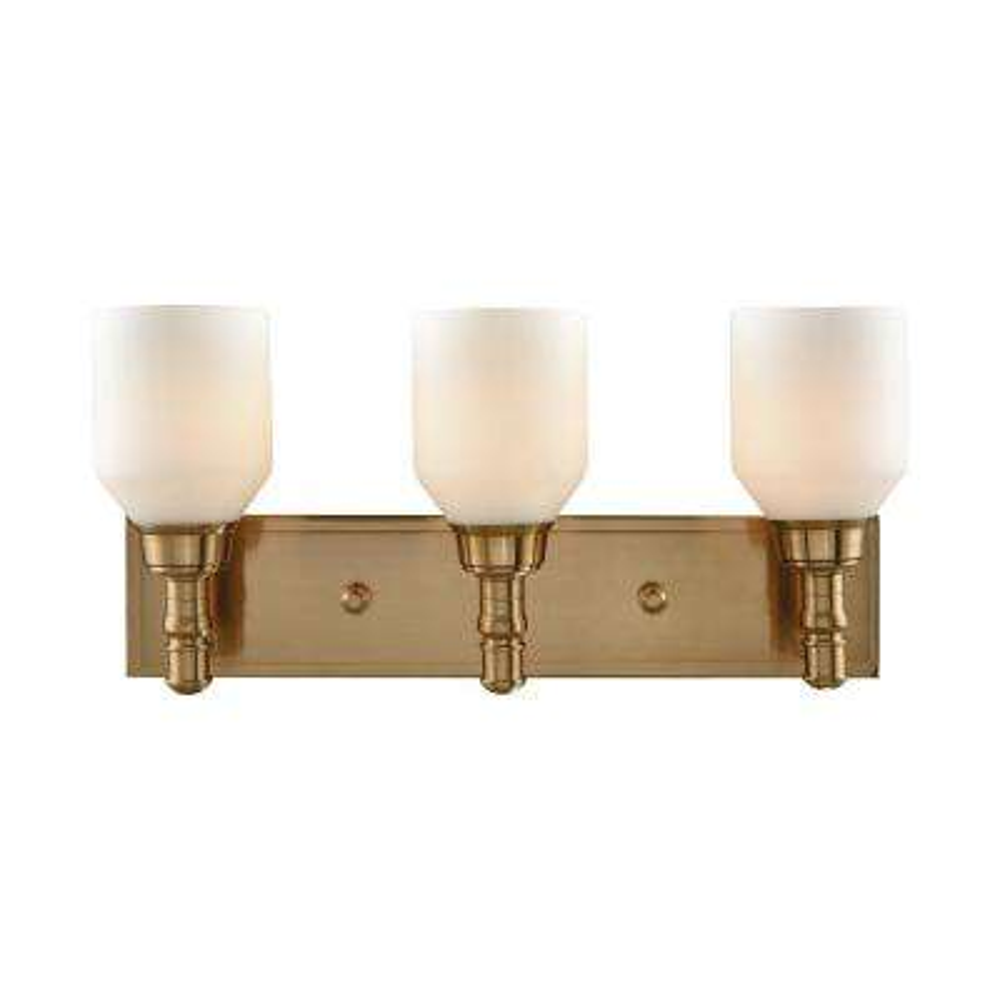 Baxter 3-Light Satin Brass with Opal White Glass Bath Light
