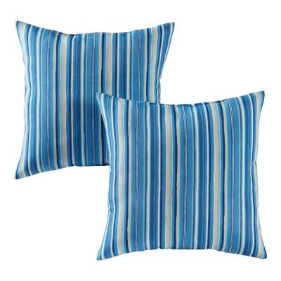 Sapphire Stripe Square Outdoor Throw Pillow (2-Pack)