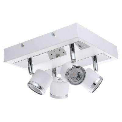 Pierino 1 9.45 in. White and Chrome Integrated LED Track Lighting Kit