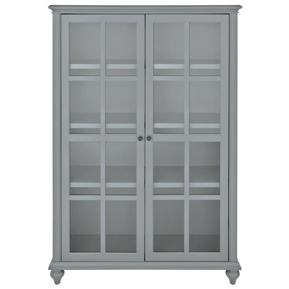 Home Decorators Collection Hamilton 60 In H Grey Glass Door Bookcase 9787300270 The Home Depot