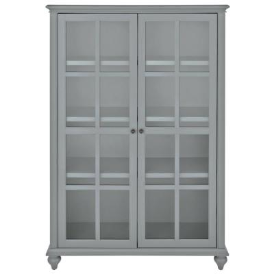 60 in. Distressed Gray Wood 4-shelf Standard Bookcase with Adjustable Shelves