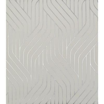 56.9 sq. ft. White/Silver Ebb And Flow Wallpaper