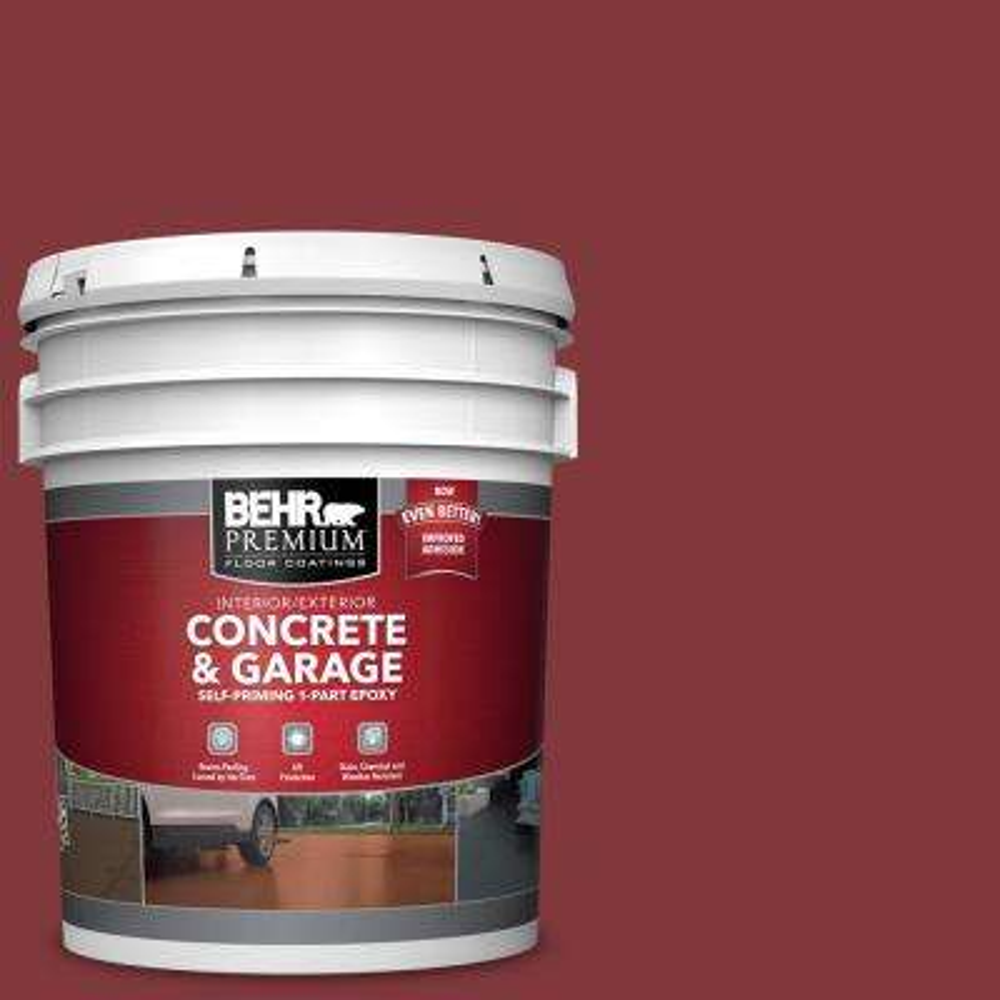 5 gal. #S140-7 Deco Red 1-Part Epoxy Satin Interior/Exterior Concrete and Garage Floor Paint