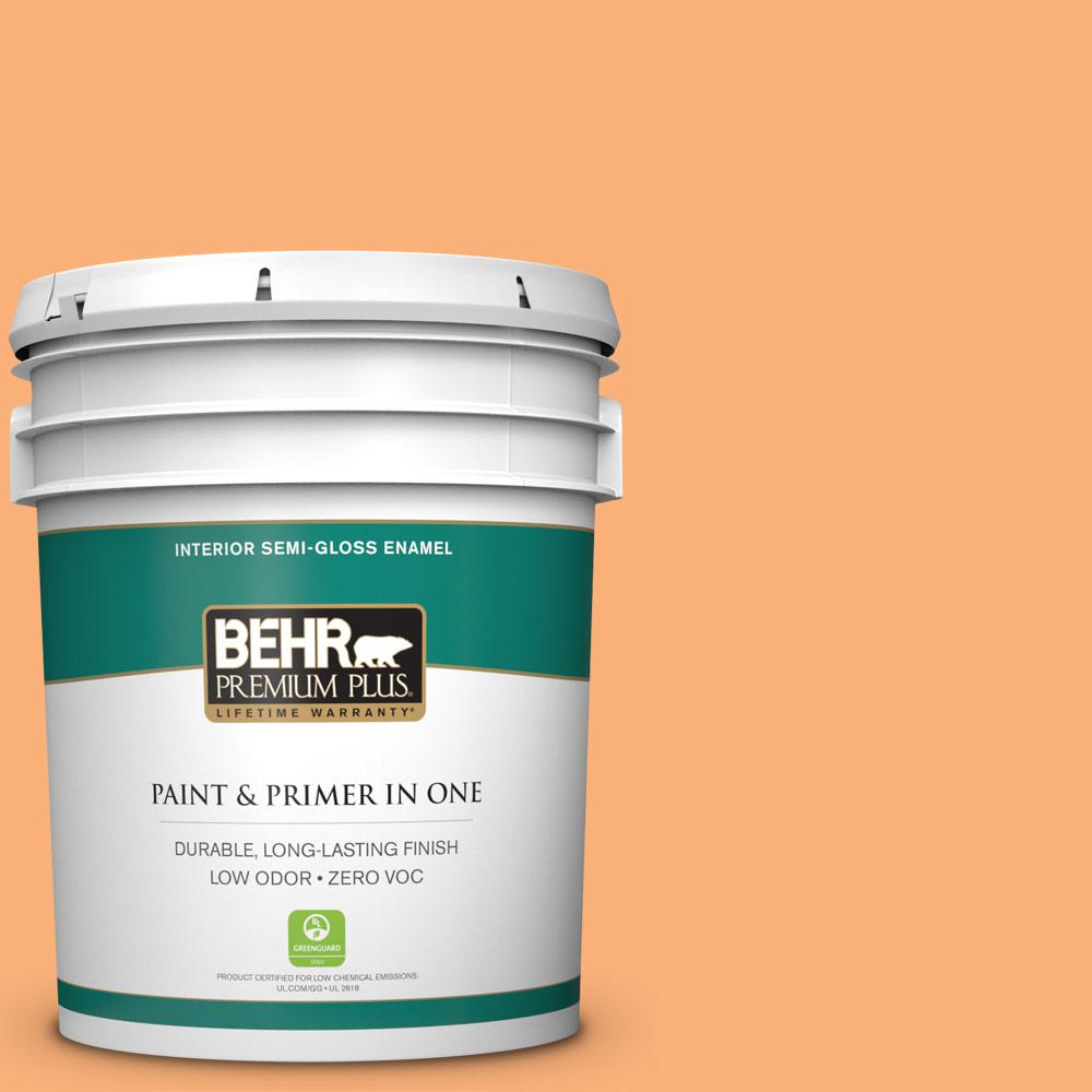 BEHR Premium Plus 5-gal. #P220-5 Fuzzy Peach Semi-Gloss Enamel Interior Paint