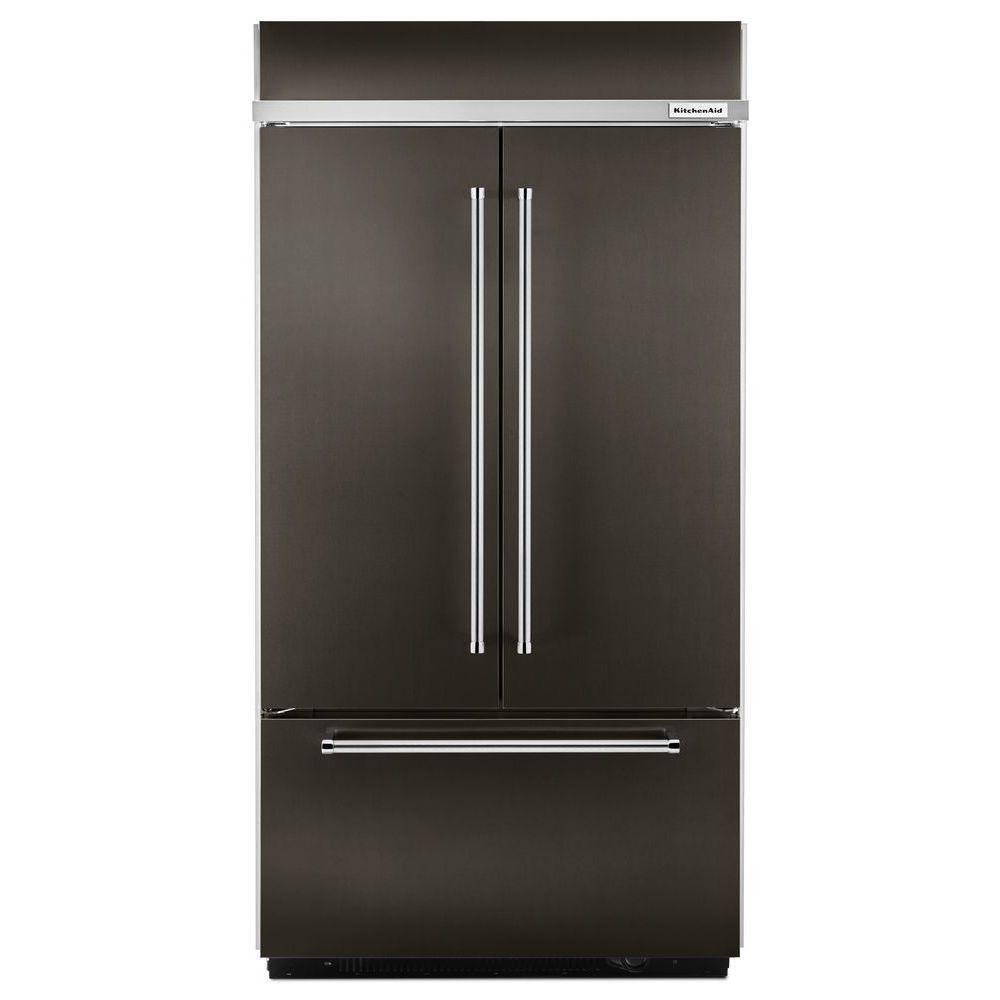 KitchenAid 42 inch W 24.2 cu. ft. Built-In French Door Refrigerator in Black Stainless, Platinum Interior by KitchenAid