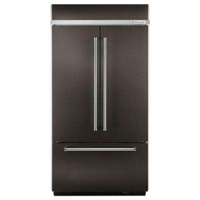 42 in. W 24.2 cu. ft. Built-In French Door Refrigerator in Black Stainless, Platinum Interior