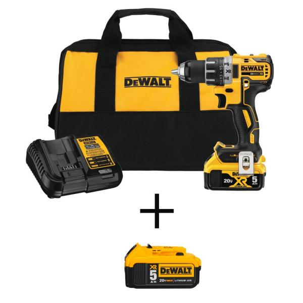 20-Volt MAX XR Cordless Brushless 1/2 in. Drill/Driver Kit with FREE 20-Volt 5.0Ah Battery