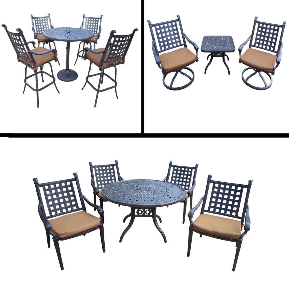 Belmont Premier 13-Piece Aluminum Outdoor Dining Set with Sunbrella Brown
