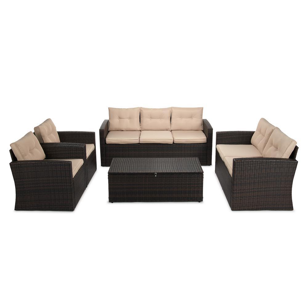 Boyel Living 5-Piece Wicker Outdoor Patio Conversation Furniture Set in Beige