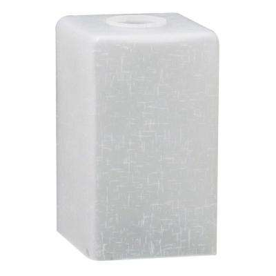 6-7/8 in. Hand-Blown White Linen Cube Neckless Fixture Shade