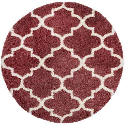 Montreal Shag Rose/Ivory 6 ft. 7 in. x 6 ft. 7 in. Round Area Rug