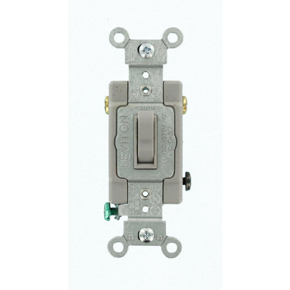 Leviton 15 Amp Commercial Grade 3Way Toggle Switch Gray54503