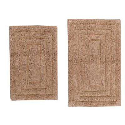 Natural 20 in. x 30 in. and 21 in. x 34 in. Racetrack Bath Rug Set (2-Piece)