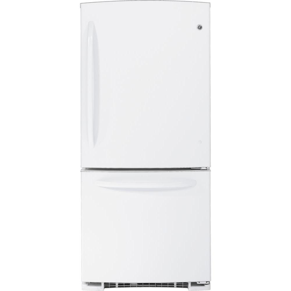 GE 20.3 cu. ft. Bottom Freezer Refrigerator in White