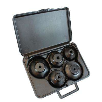 Universal Steel Oil Filter Cup Wrench Set with Molded Storage Case (5-Piece)