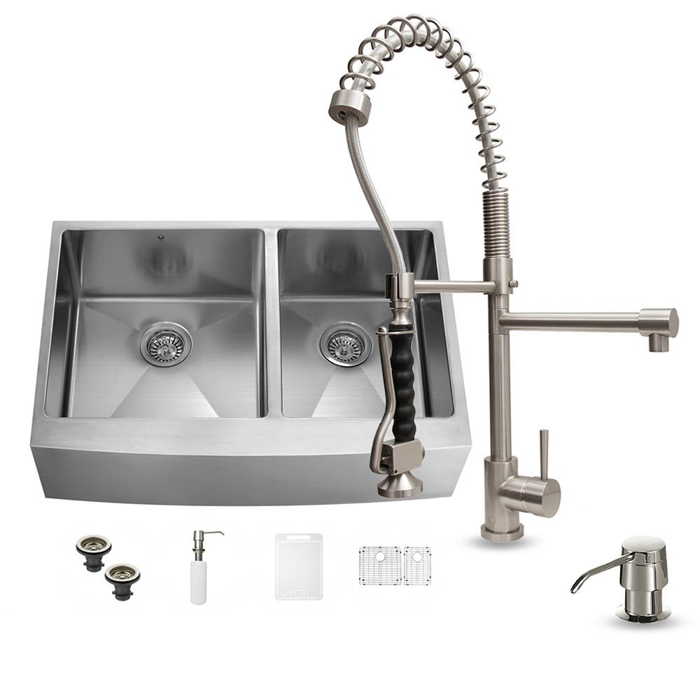 VIGO All-in-One Farmhouse Apron Front Stainless Steel 36 in. 0-Hole Double Bowl Kitchen Sink and Faucet Set