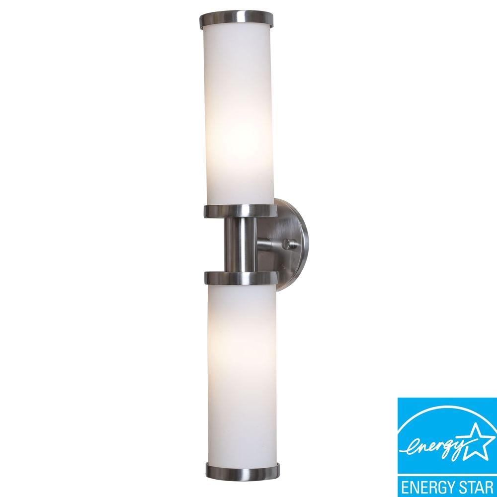 Illumine 2-Light Wall Sconce Brushed Steel Finish Opal Glass-DISCONTINUED