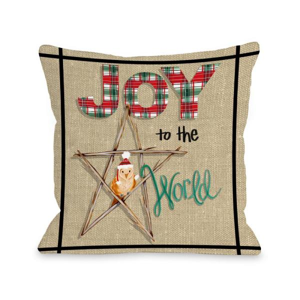 Joy to The World Owl Plaid 16 in. x 16 in.