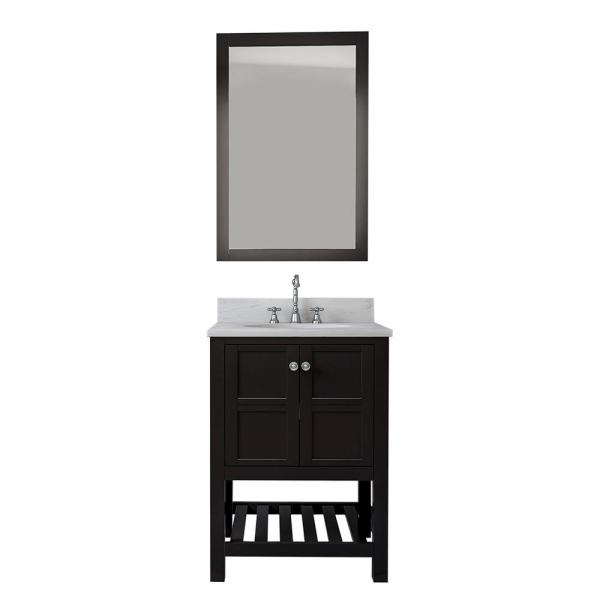 Chambery 24 in. Single Bathroom Vanity Set All Solid Wood with 1 in. Carrara Marble Top with White Sink