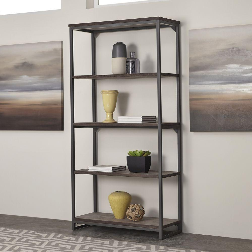 House Bookshelf: Altra Furniture Wildwood Rustic Gray Open Bookcase-9631096
