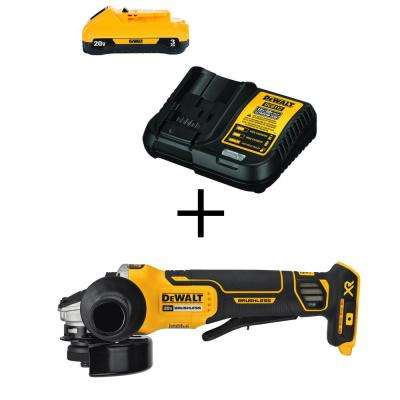 20-Volt MAX XR Lithium-Ion Cordless Brushless 4-1/2 in. Angle Grinder w/ Brake, Free 20-Volt 3.0Ah Battery & Charger