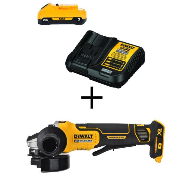 20-Volt MAX Li-Ion Cordless Brushless 4-1/2 in. Angle Grinder (with Brake) with 20-Volt MAX 3.0Ah Battery and Charger