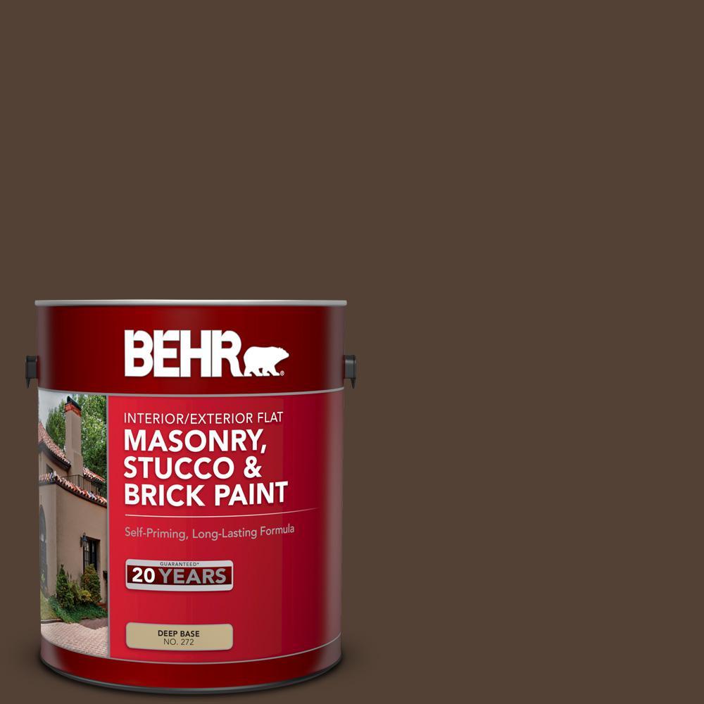 1 gal. #PPF-51 Dark Walnut Flat Interior/Exterior Masonry, Stucco and Brick Paint
