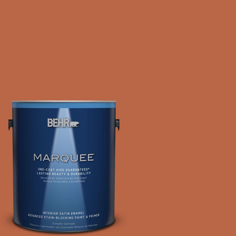 1 gal. #HDC-FL15-01 Pumpkin Drizzle Satin Enamel Interior Paint