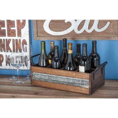 20 in. W x 7 in. H Stained Brown and Metallic Gray Wood and Metal 8-Bottle Wine Holder