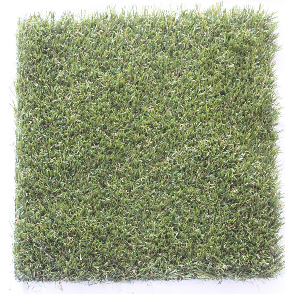 Carpet Sample-Trugrass- Color Tan Artificial Grass 8 in. x 8 in.