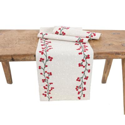 15 in. x 70 in. Holly Berry Branch Crewel Embroidered Christmas Table Runner, Natural
