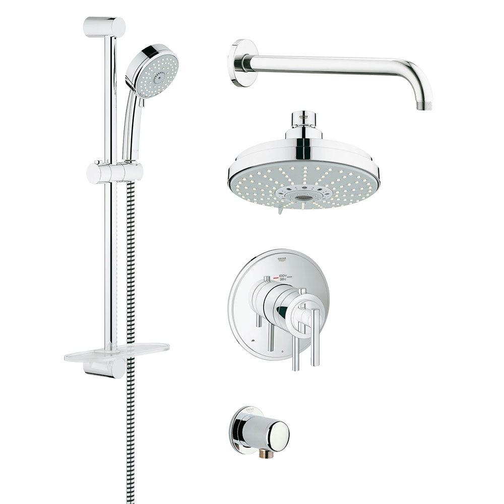 GrohFlex Timeless 4-Spray Hand Shower and Shower Head Combo Kit in