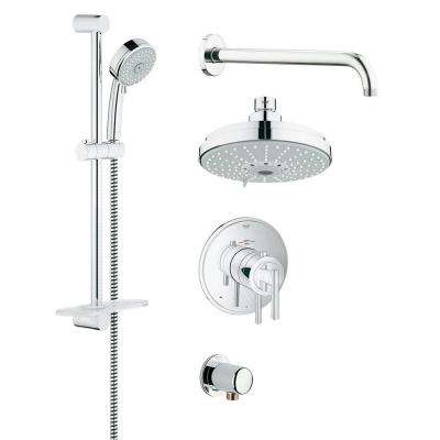 GrohFlex Timeless 4-Spray Handheld Shower and Shower Head Combo Kit in StarLight Chrome