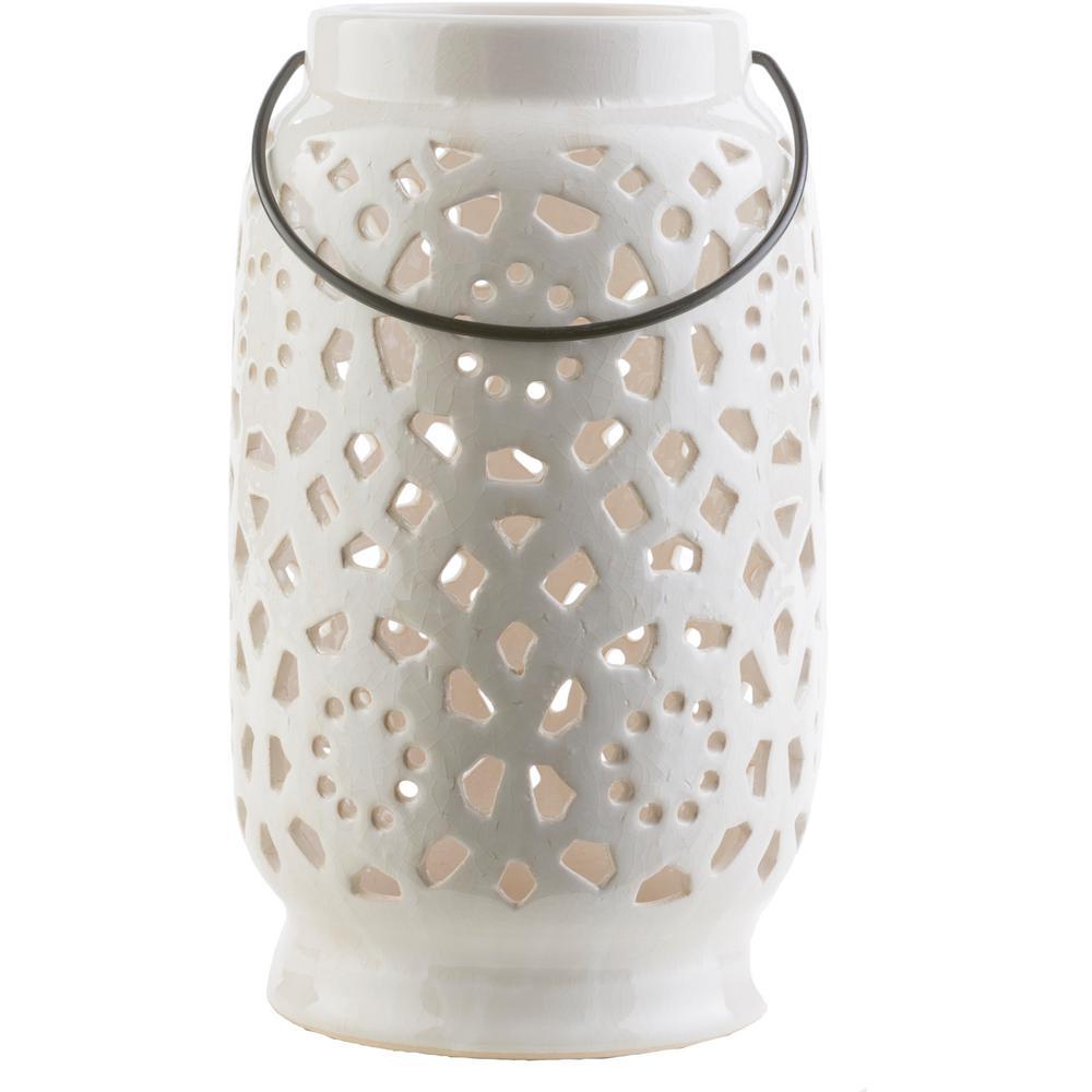 Kimba 11 in. White Ceramic Lantern