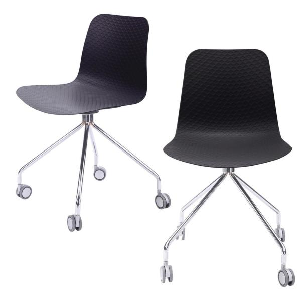 CozyBlock Hebe Series Black Office Chair Designer Task Chair Molded Plastic Seat with Chrome Wheel Legs (Set of 2)