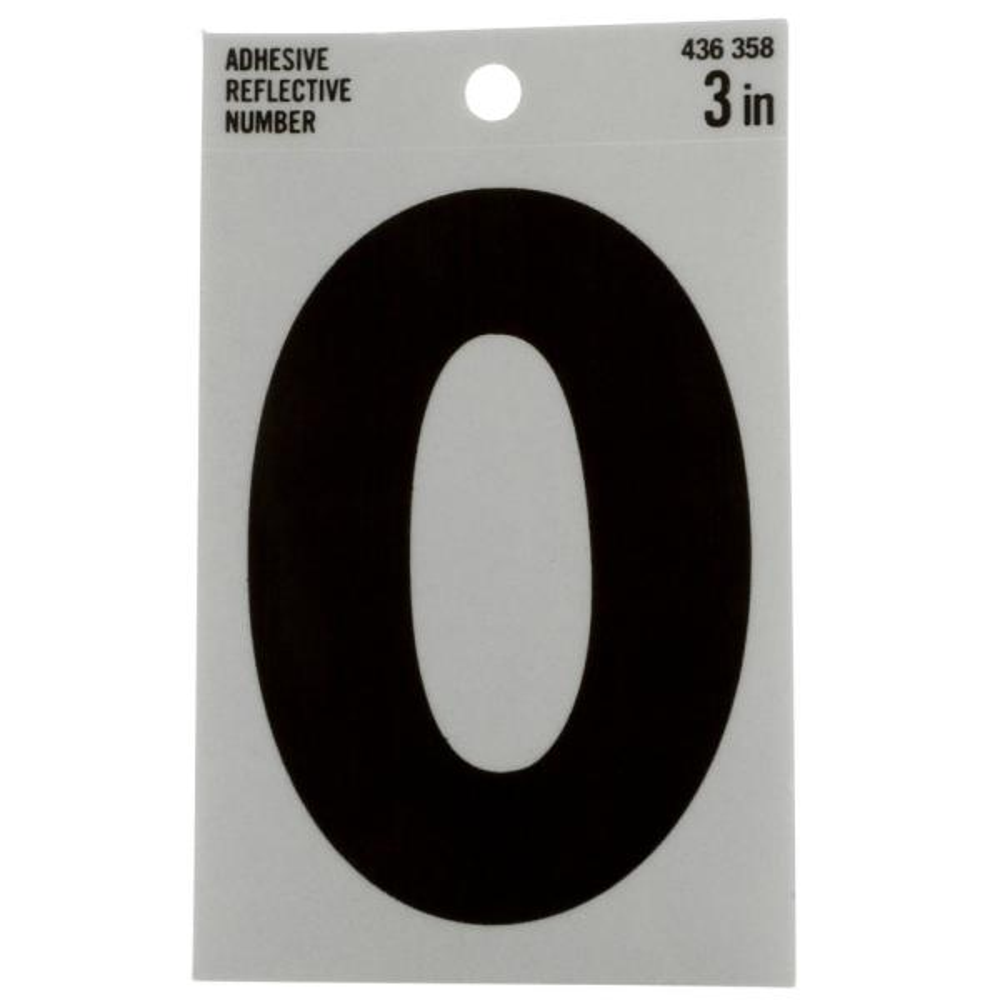 3 in. Vinyl Reflective Number 0
