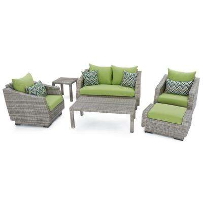 Cannes 6 Piece Loveseat Patio Deep Seating Set With Ginkgo Green Cushions